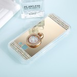 For Samsung Galaxy A3 (2017) Diamond Encrusted Electroplating Mirror Protective Cover Case with Ring Holder(Gold)