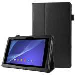 Litchi Texture Leather Case with Holder for Sony Xperia Tablet Z2 10.1(Black)