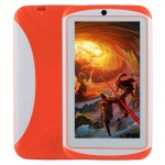 Tablette enfant 7 pouces Orange 512 Mo+ 4 Go, Android 4.4 Allwinner A33 Quad Core, WiFi / Bluetooth, avec étui en silicone Ta...