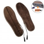 USB Electric Powered Heated Insoles Keep Feet Warm Pad with USB Cable, Size: 37-38 yard (Brown)