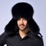 Winter New Style Fox Hair LeiFeng Men Hats, Thick Warm Middle and Old People Ear Protection Winter Fur Hat(Black)