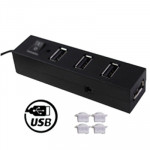 High Speed 4 Ports USB 2.0 HUB with Anti Dust Cup & Switch, Plug and Play (Black)