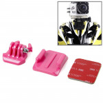 SIXXY Gopro Helmet Curved Surface + 3M VHB Sticker + Mount Stand Kit for GoPro Hero 4 / 3+ / 3 / 2 / 1(Magenta)