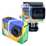 Retro Brazil Flag Pattern Case Sticker for GoPro Hero 3+ / 3
