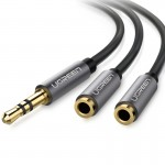 Ugreen Aluminum Alloy Shell 3.5mm Male to 2 x 3.5mm Female Headphone Splitters Audio Cable Headphone Audio Adapter