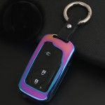 Car Auto Round Buckle Key Shell Zinc Alloy Car Chain Shell Car Key Shell Case Key Ring for BYD, Random Color Delivery