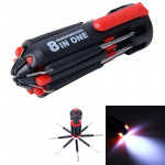 8 in 1 Multifunctional Portable Screwdriver with LED Torch
