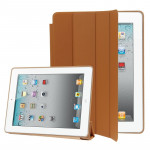 4-folding Slim Smart Cover Leather Case with Holder & Sleep / Wake-up Function for iPad 4 / New iPad (iPad 3) / iPad 2(Brown)
