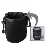 Neoprene SLR Camera Lens Carrying Bag Pouch Medium with Clip (8x10cm)(Black)