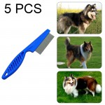 5 PCS Pet Cats Dogs Supplies Combs Fine Toothed Stainless Steel Needle Fleas Removal Combs, Length: 18.5cm (Blue)