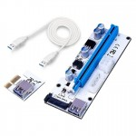 USB 3.1 PCI-E Express 1x to 16x PCI-E Extender Riser Card Adapter 15 Pin SATA Power with 60cm USB Cable(Blue)