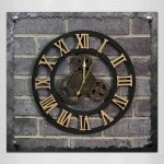 Originality American Industrial Style Wood Vintage Old Gear Wall Clock (Gold)