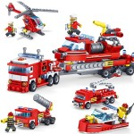 KAZI 4 in 1 Sets Fire Fighting Car Helicopter Boat Building Blocks Compatible City Firefighter Educational Construction Bricks T