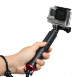 Handheld Extendable Pole Monopod with Screw for GoPro HERO4 /3+ /3 /2, Max Length: 49cm(Red)