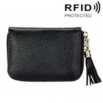 Genuine Cowhide Leather Solid Color Zipper Card Holder Wallet RFID Blocking Card Bag Protect Case Coin Purse with Tassel Pendant