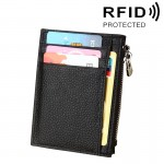Cowhide Leather Solid Color Zipper Card Holder Wallet RFID Blocking Coin Purse Card Bag Protect Case, Size: 11*8*1.5cm (Black)